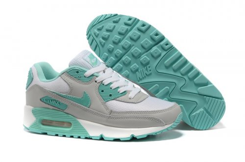 Женские кроссовки Nike Air Max 90 (gray-white-turquoise) - 01W