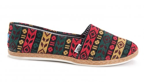 Женские кеды Toms canvas (red/blue/yellow) - 01z