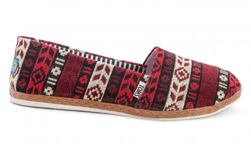 Женские кеды Toms canvas (red/white/purple) - 02z
