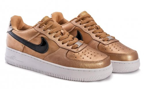 Женские золотистые кроссовки Nike Air Force 1 low (gold/black/white) - 29W