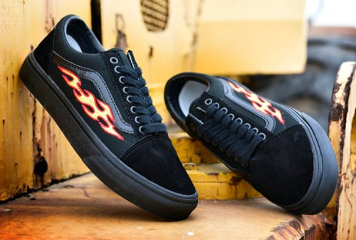 Женские кеды THRASHER x Vans Old Skool Black (black/fire) - 45z