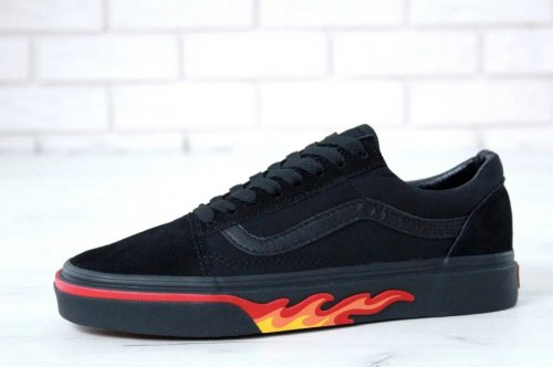 Мужские кеды Vans Old Skool (black/fire) - 33B